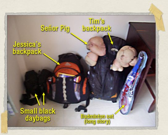 'The luggage we carried on our round-the-world trip (ignore the badminton set)