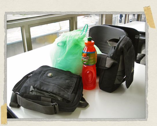'Our new luggage (seen here at the Bogata airport, surrounding a Gatorade and a bag of empanadas)