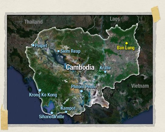 'Ban Lung is located in the northeastern corner of Cambodia