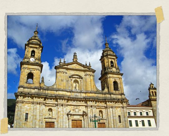 'The Catedral Primada, located in Plaza de Bolivar, stands on the site where the first mass may have been celebrated in Bogota and is home to hundreds of pigeons too