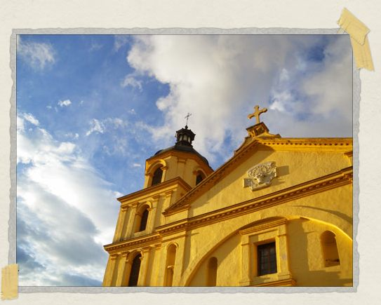 'The Church of Candeleria shows up brilliantly against the blue sky of a Bogota morning