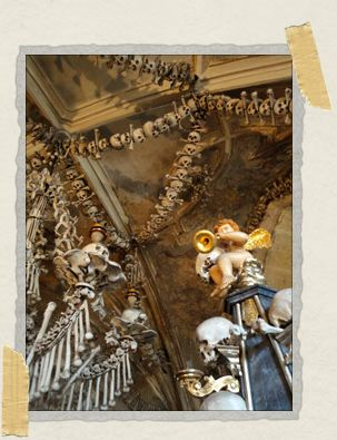 'A doughy cherub sits atop a pile of skulls with his horn in one hand and another skull in the other