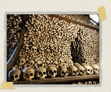 'One of the massive 'bells' composed of skulls and bones at Sedlec
