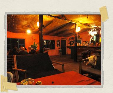 'Inside the warm main lodge on a chilly African night