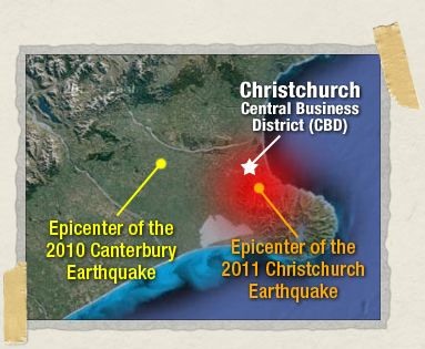 'Epicenters of the 2010 Canterbury and 2011 Christchurch earthquakes