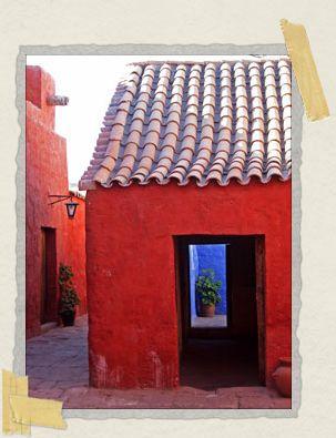 'The gaily-colored walls of the Monasterio de Santa Catalina