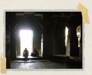 'Inside the cool, dark, quiet recesses of a Buddhist cave-temple at Ellora.