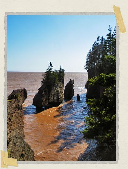 'This is a classic view of the Hopewell Rocks during high tide. These rocks are one of the favorite places to see the difference in the tidal range...