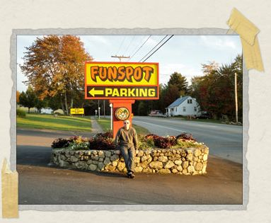 'Our friend Philip posing with the sign outside the gaming world's mecca, Funspot