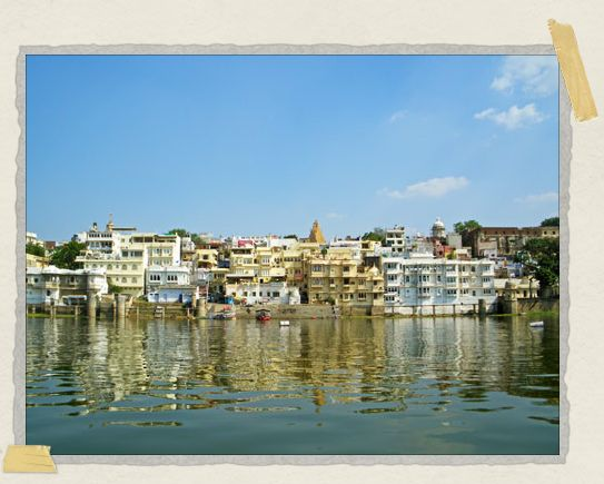 'A view of the ghats and the crumbling facades of Udaipur's gorgeous lakeside buildings
