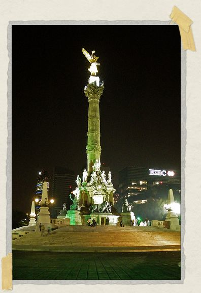 'Mexico City's iconic Independence Monument at night