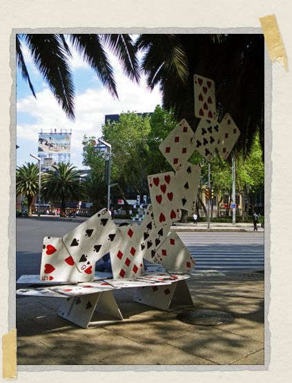 'A bench on Paseo de la Reforma in the shape of a deck of cards