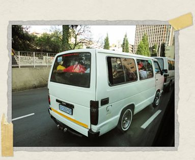 'A typical minibus taxi in Johannesburg