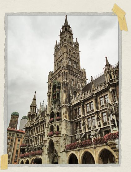'We arrived in Munich's center square, Marienplatz, exactly at noon. As luck would have it, that's one of the few times during each day that the Glockenspiel clock (located around the center of the photo) rings on the Neues Rathaus (New City Hall).