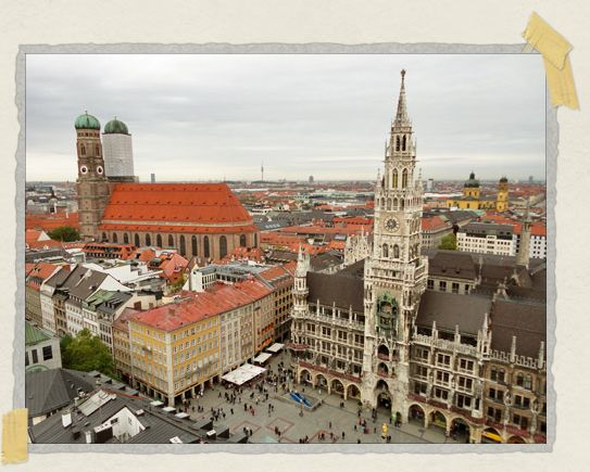 'The view of Marienplatz as seen from the top of St. Peter's Church