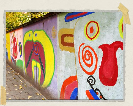 'Some colorful graffiti we passed outside a school