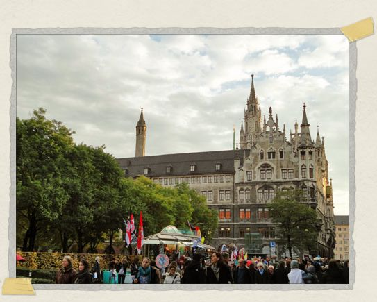 'A typical Munich street scene: gorgeous architecture and happy pedestrians