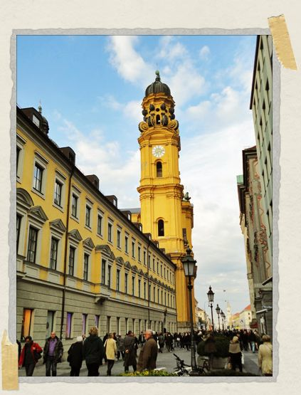 'A view of Theatinerkirche from down the street – the sun had just started to come out and the church glowed