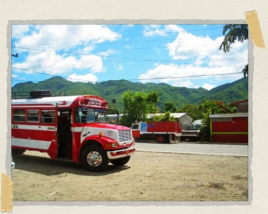 'The public buses throughout Nicaragua – often painted multiple colors – were originally school buses in America