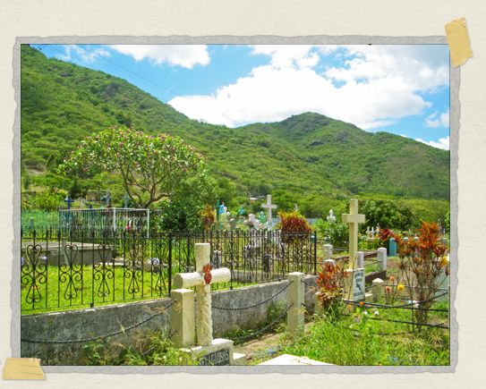 'A gorgeous cemetery in the shadow of the lush mountains near Jinotega
