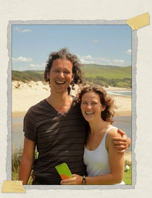 'Our friends Peter and Loes, taken at Bulungula, when we were decidedly not pinned under hundreds of pounds of groceries