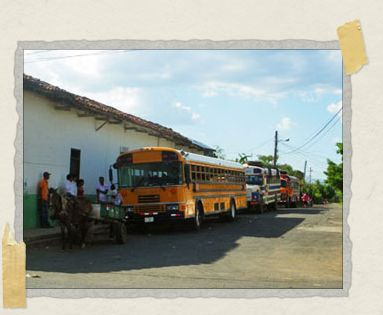 'Nicaragua inherited old American school buses which are sometimes left a familiar yellow and other times painted all sorts of colors