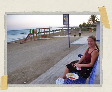 'An early dinner on a bench overlooking the sea