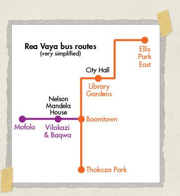 'The route to Vilakazi Street, Soweto, using the Rea Vaya bus line
