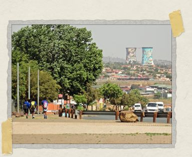 'Picturesque Soweto: in the distance are the colorful cooling towers of the defunct Orlando Power Station