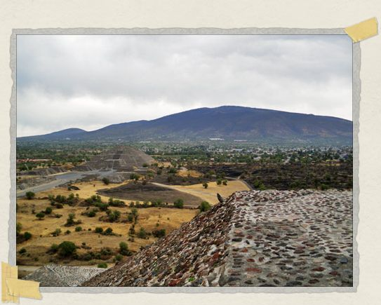 'The view from the Pyramid of the Sun with the Pyramid of the Moon in the distance