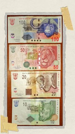 'South African Rand showing Africa's Big Five